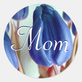 Mamma-blaue Tulpe-Aufkleber Runder Aufkleber