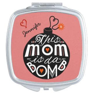 Mamma DA bombardieren niedlichen personalisierten Taschenspiegel
