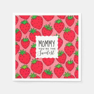 Mamma-Erdbeeren der Mutter süßeste Tages Papierservietten