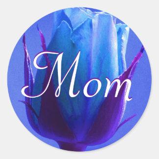 Mamma-heller blauer Rosen-Aufkleber Runder Aufkleber