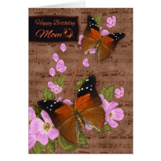 Mamma, mit Flipper-Schmetterling auf rosa Grußkarte