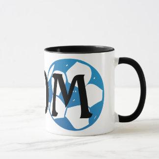 Mamma mit Fußball im Blau Tasse