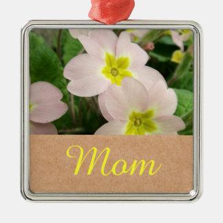Mamma - Mutter-Tagesprimel-Blumen Quadratisches Silberfarbenes Ornament