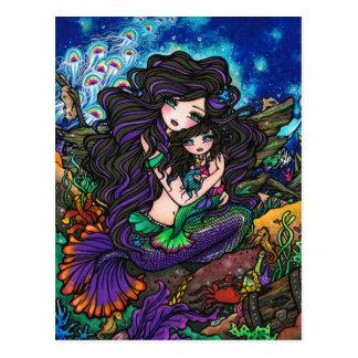 Mamma-u. Baby-Meerjungfrau-Fantasie-Marinekunst-Po Postkarten