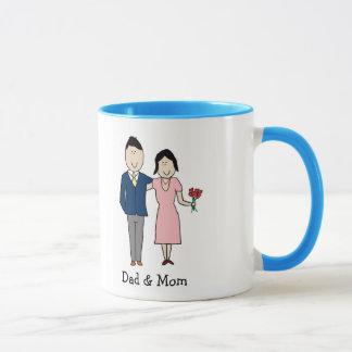 Mamma u. Vati - kundenspezifische Cartoon-Tasse Tasse