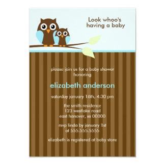 Mamma-und Baby-Eulen-{blaue} Babyparty 12,7 X 17,8 Cm Einladungskarte