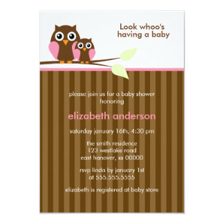 Mamma-und Baby-Eulen-{rosa} Babyparty 12,7 X 17,8 Cm Einladungskarte