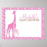 Mamma-und Baby-Giraffen-Babyparty-Willkommensschil Plakat