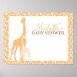 Mamma-und Baby-Giraffen-Babyparty-Willkommensschil Poster