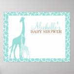 Mamma-und Baby-Giraffen-Babyparty-Willkommensschil Posterdruck