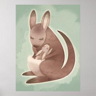 Mamma-und Baby-Känguru-Plakat Poster