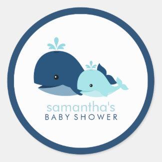 Mamma-und Baby-Wal-Babyparty {blau} Runder Aufkleber
