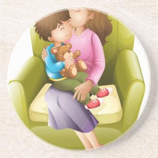 Mamma und Kind Sandstein Untersetzer