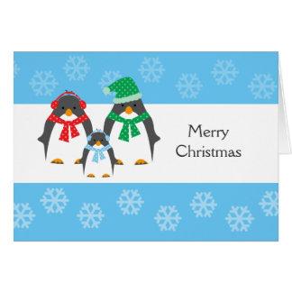 Mamma-, Vati-u. Baby-Pinguin WEIHNACHTSkarte Karte