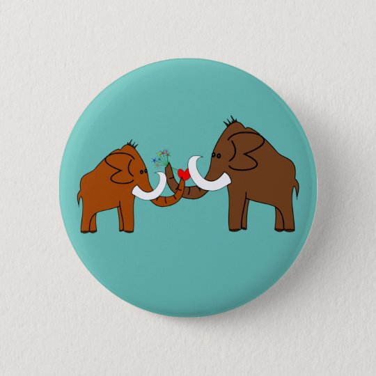 Mammoths in love runder button 5,7 cm