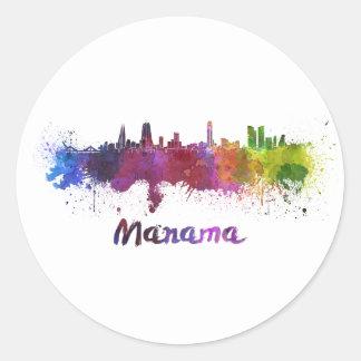 Manama skyline im Watercolor Runder Aufkleber