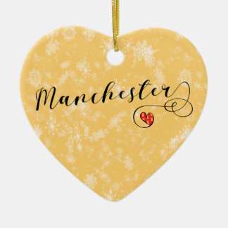 Manchester-Herz, Weihnachtsbaum-Verzierung Keramik Ornament