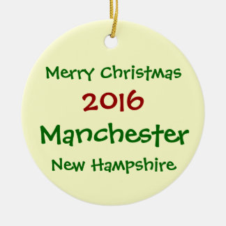 MANCHESTER-NEW HAMPSHIRE-WEIHNACHTSverzierung 2016 Keramik Ornament