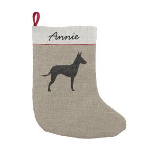 Manchester-Terrier-Silhouette mit Kleiner Weihnachtsstrumpf