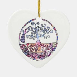 Mandala - Baum des Lebens im Paradies Keramik Herz-Ornament