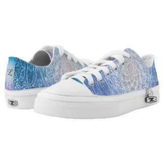 Mandala-blaue violette Reflexion Niedrig-geschnittene Sneaker