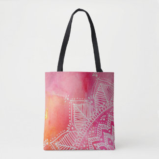 Mandala-Blume auf Watercolorhintergrund - Rosa Tasche