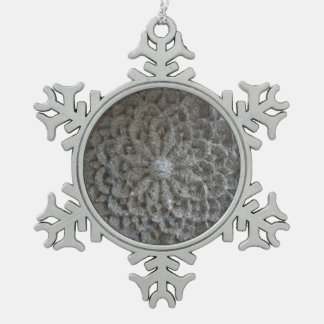 Mandala-Blumen-Stein-Zinn-Schneeflocke-Dekoration Schneeflocken Zinn-Ornament