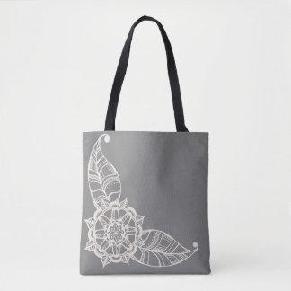 Mandala-Blumen-Tasche im Grau und in der Creme Tasche