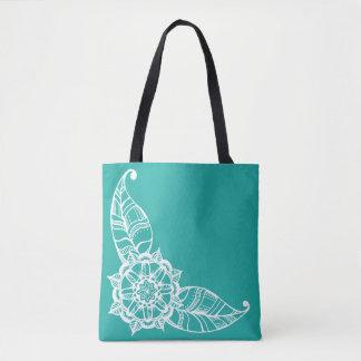 Mandala-Blumen-Tasche in hellem aquamarinem Tasche