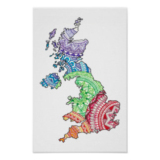 Mandala-britische Inseln Poster