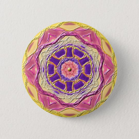 "Mandala-Button ""King of Healing"" Runder Button 5,1 Cm"