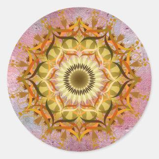 Mandala-Damast-Lotos-Blumen-Kunst elegant Runder Aufkleber