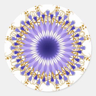 Mandala-Damast-Lotos-Blumen-Kunst Runder Aufkleber
