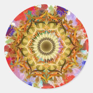 Mandala-Damast-Lotos-Blumen-KunstWatercolor Runder Aufkleber