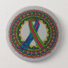 Mandala für metastatischen Brustkrebs Runder Button 10,2 Cm
