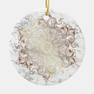 Mandala - Gold u. Marmor Keramik Ornament