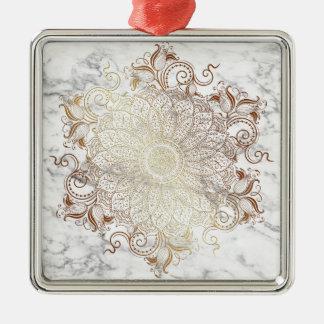 Mandala - Gold u. Marmor Quadratisches Silberfarbenes Ornament