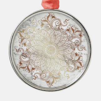 Mandala - Gold u. Marmor Rundes Silberfarbenes Ornament