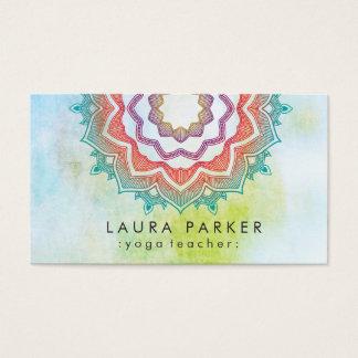Mandala-grüne Lotus-Yoga-Meditation holistisch Visitenkarte