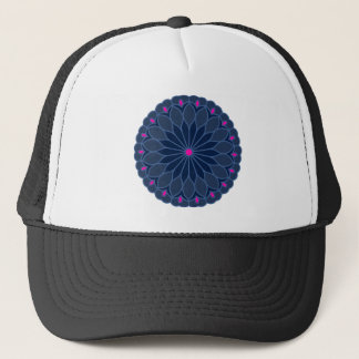 Mandala-inspirierte dunkelblaue Blume Truckerkappe