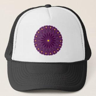 Mandala-inspirierte violette Blume Truckerkappe