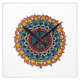 Mandala-Kunst-Wanduhr Quadratische Wanduhr