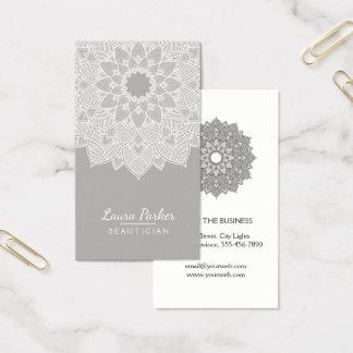 Mandala-Lotos-Blumen-Yoga-graues Weiß sauber Visitenkarte