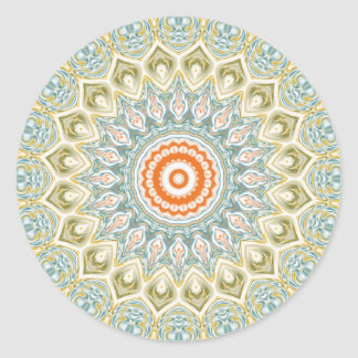 Mandala-Medaillon im Grün, im Blau und in der Runder Aufkleber
