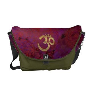 Mandala Moos Gold-OM lila mittlere Bote-Tasche Kurier Tasche