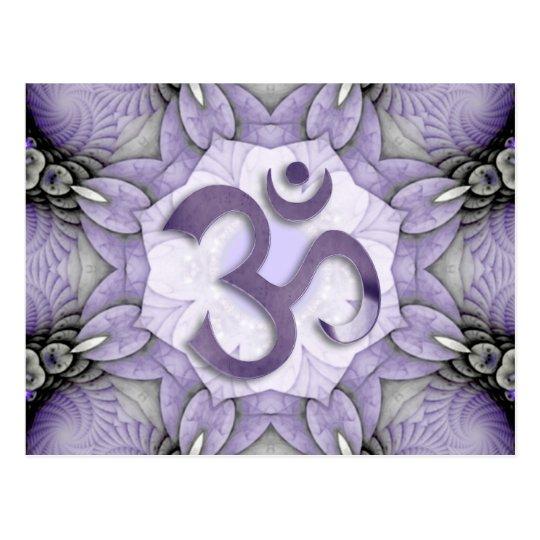 MANDALA OM - violet Postkarte