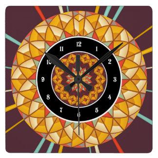 Mandala Quadratische Wanduhr