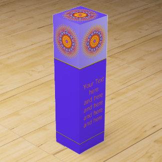 MANDALA rays violette Orange + Ihr Text Weinbox