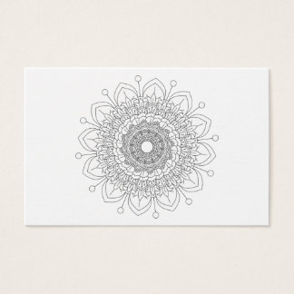 Mandala. Rundes orientalisches Schwarzweiss-Muster Visitenkarte