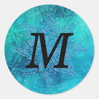 Mandala-Schneeflocke-schwarzer Runder Aufkleber